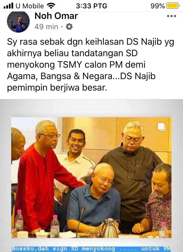 Najib Tandatangan SD Sokong Muhyiddin
